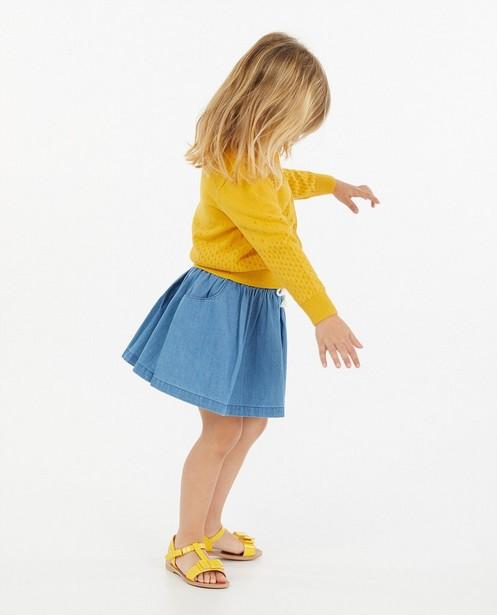Gele cardigan met ajourpatroon - gebreid - Milla Star