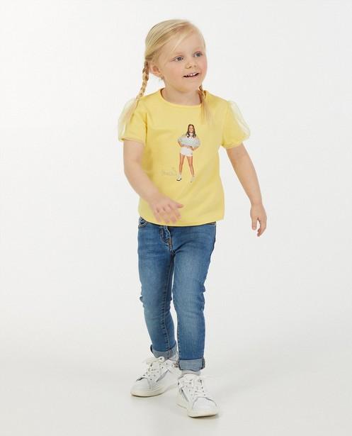T-shirt jaune avec imprimé photo K3 - avec du tulle - K3