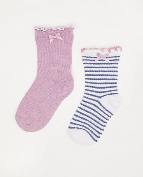 Set van 2 paar babykousjes - wit, blauw en lila - Cuddles and Smiles