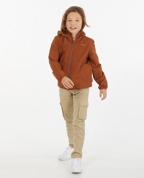 Bruine packable jacket, 7-14 jaar - oprolbaar in zakje - Fish & Chips