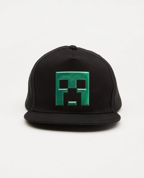 Zwarte Minecraft-pet met print - met mesh - Playstation