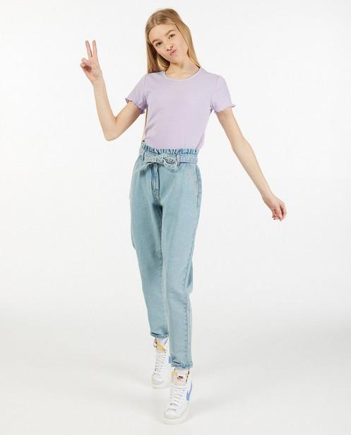 Lichtblauwe jeans met paperbag waist - en knooplint - Groggy