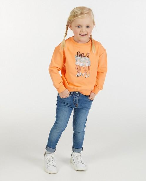 Oranje sweater met fotoprint K3 - stretch - K3