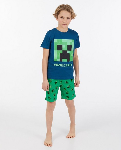 Donkergroene Minecraft pyjama - stretch - Minecraft