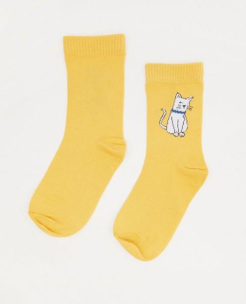 Chaussettes jaunes avec un chat - stretch - JBC