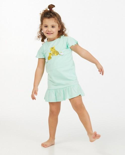 Mintgroen nachtkleed met print - en tule - Milla Star
