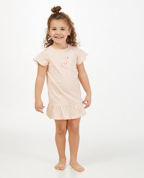 Zalmroze nachtkleed met print - en tule - Milla Star
