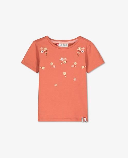 Bruin T-shirt met borduursel Looxs - bloemetjes - Looxs
