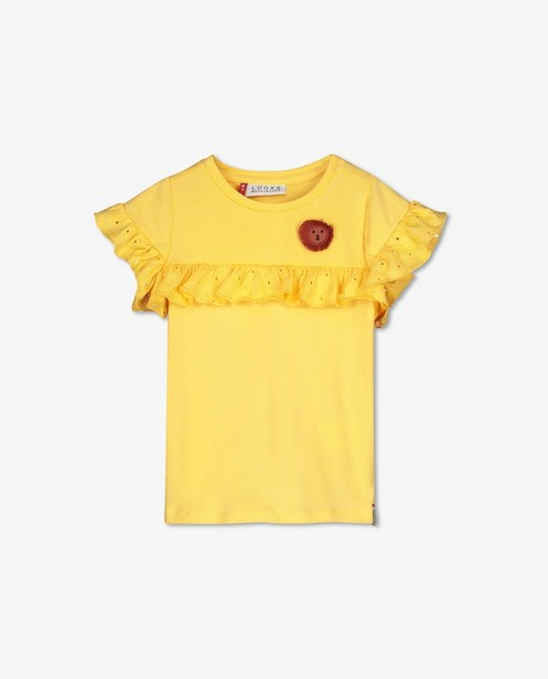Geel T-shirtje met volants Looxs - met broderie anglaise - Looxs