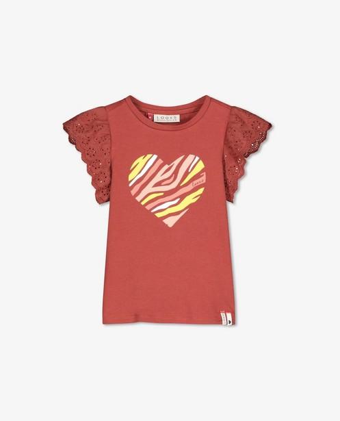 Bruin T-shirt met hart Looxs - en broderie anglaise - Looxs