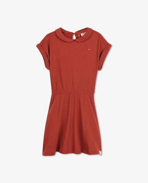 Roest jurk met kreukeffect Looxs - met Claudine kraagje - Looxs