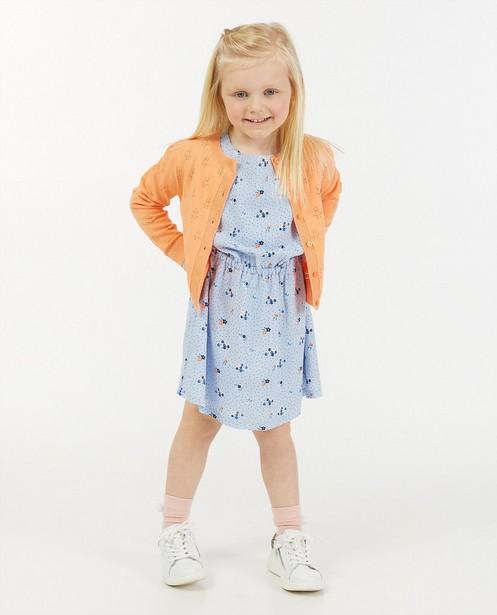 Cardigan orange à partie ajourée Maya - fin tricot - Maya