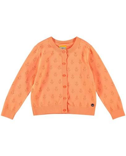 Oranje cardigan met ajour Maya