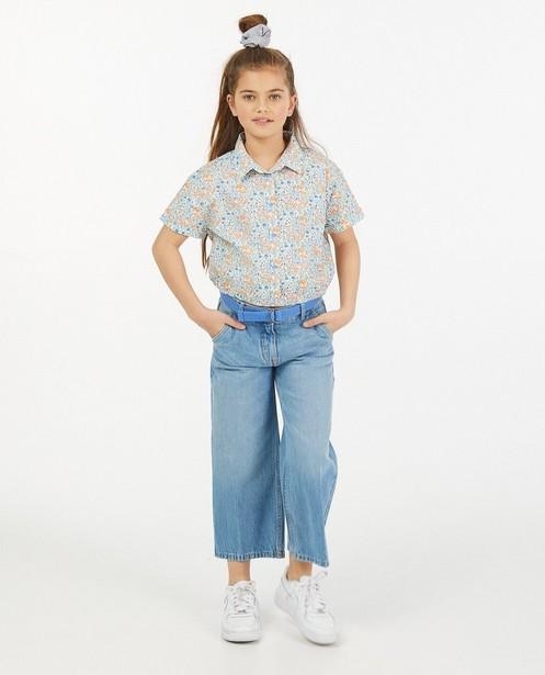 Blauwe jeans culotte Peppa met riem - met verstelbare taille - Fish & Chips