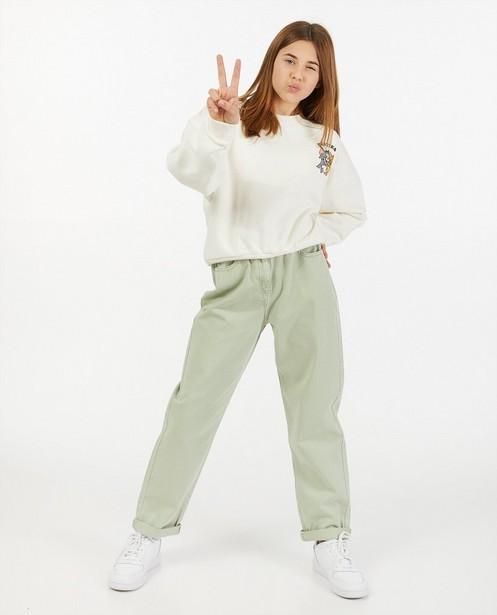 Lichtgroene mom jeans - met elastiek - Groggy