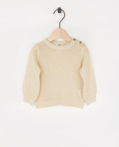 Pull doré avec une partie ajourée - en coton bio - Cuddles and Smiles