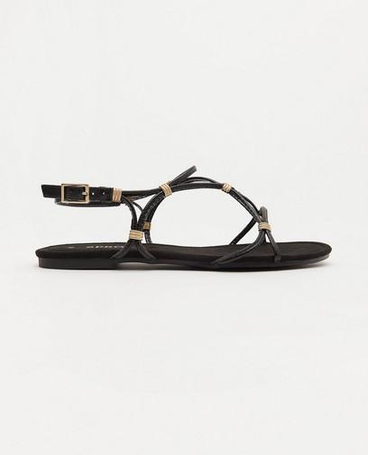 Platte zwarte sandaal Sprox