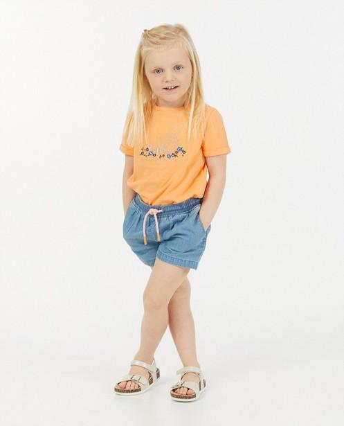 Oranje T-shirt met print Maya - van biokatoen - Maya
