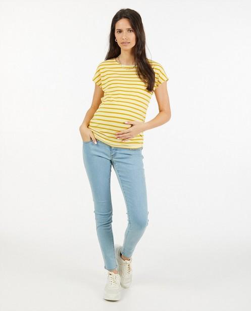 Geel T-shirt met strepen JoliRonde - zwangerschap - Joli Ronde
