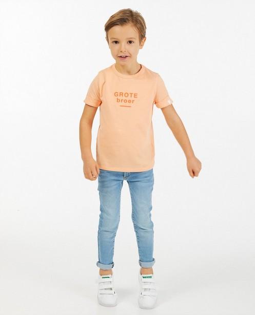 T-shirt orange à inscription - en coton bio - Fish & Chips