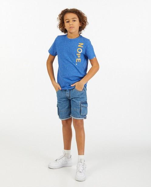 Lichtblauw T-shirt met opschrift - van biokatoen - Fish & Chips