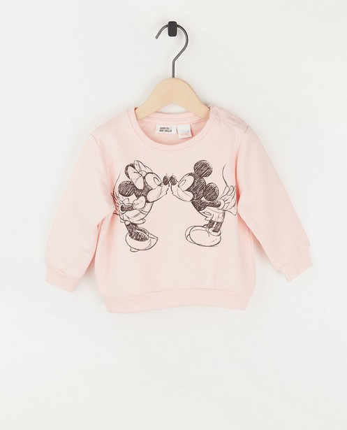 Sweat bébé rose Mickey et Minnie - à imprimé - Mickey