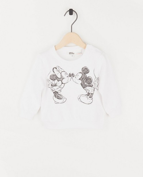 Sweat bébé blanc Mickey et Minnie - à imprimé - Mickey