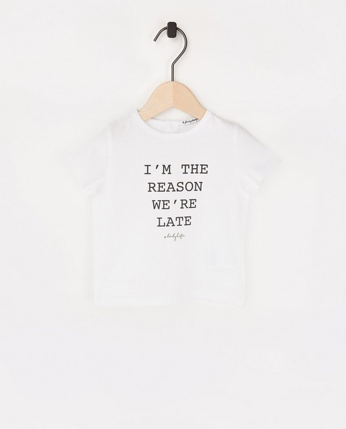 Twinning baby T-shirt met opschrift - #familystoriesjbc - Familystories