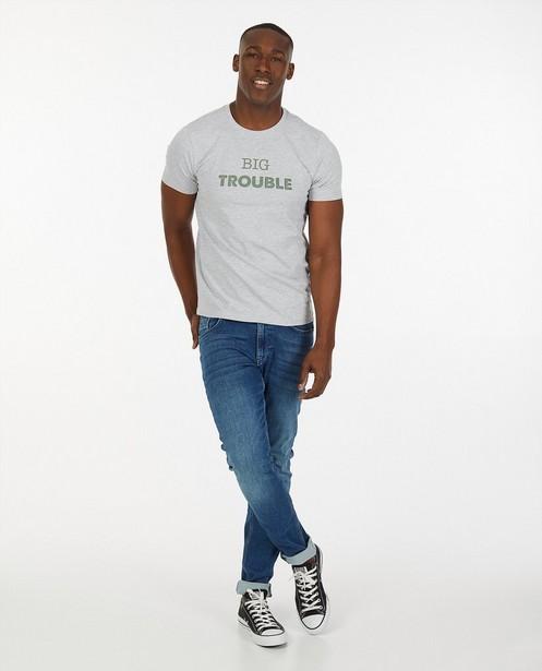 Twinning heren T-shirt met opschrift - #familystoriesjbc - Familystories