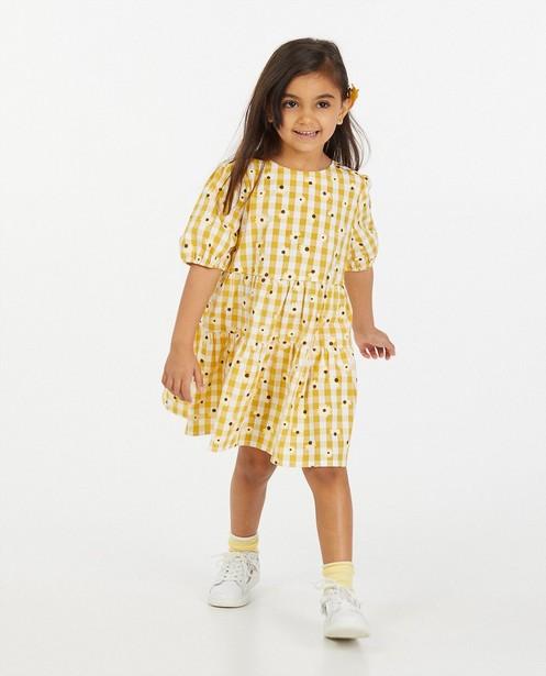 Gele jurk met ruitenprint en bloemen - allover - Milla Star
