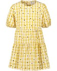 Kleedjes - Gele jurk met ruitenprint en bloemen
