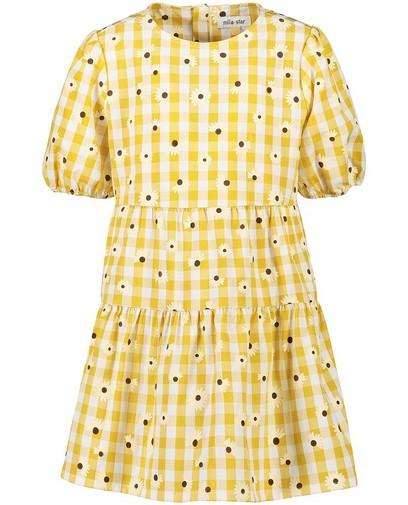 Robe jaune à imprimé à carreaux et fleurs