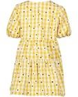 Robes - Robe jaune à imprimé à carreaux et fleurs