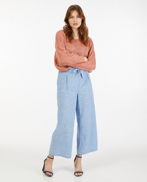 Jupe-culotte bleu clair en lin Sora - taille élastique - Sora