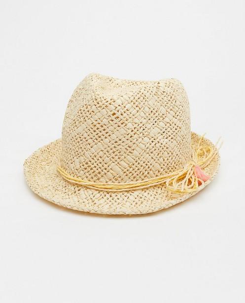 Beige zomerhoedje met kwastjes - en strik - JBC