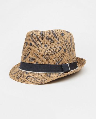 Chapeau brun à imprimé