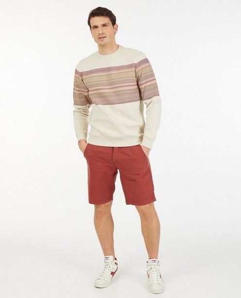 Offwhite sweater met strepen - van biokatoen - Quarterback