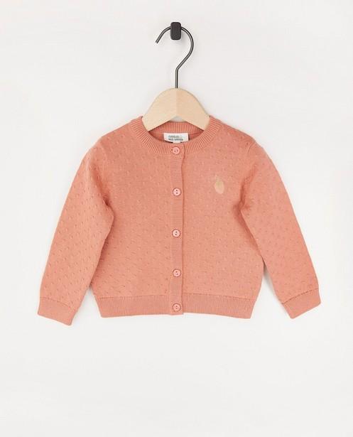 Cardigan rose avec une petite fraise - fin tricot - JBC