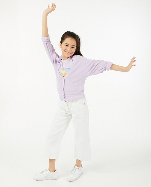 Cardigan lilas à manches ballons - fin tricot - Milla Star