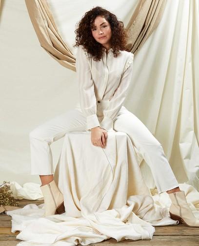 Pantalon évasé court blanc Sora