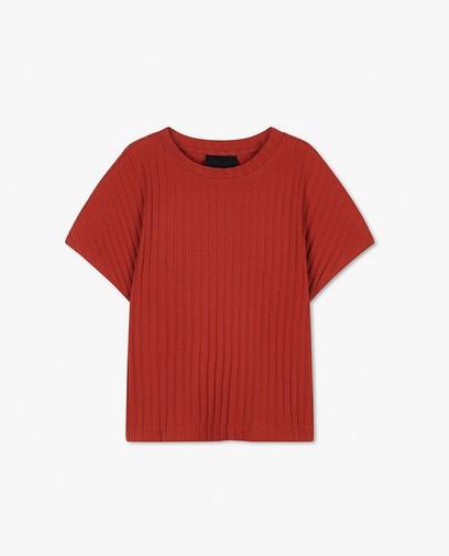 Roest T-shirt met ribreliëf Youh!