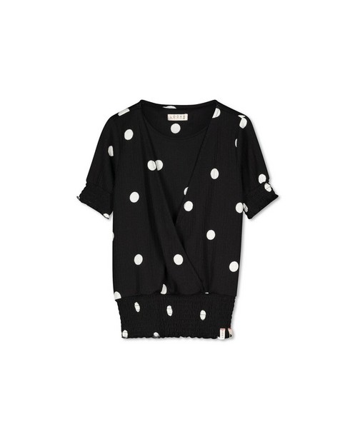 Zwarte gekruiste top met print Looxs - witte stippen - Looxs