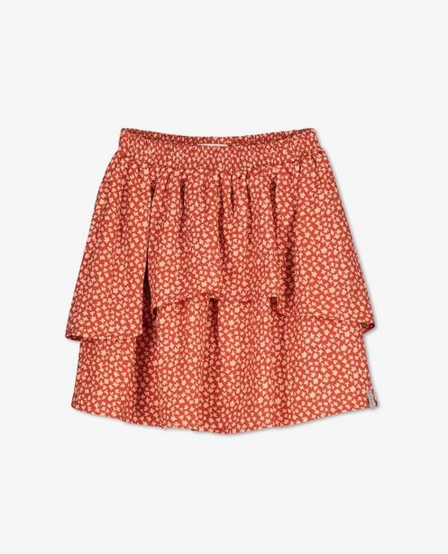 Oranjebruine rok met print Looxs - allover bloemenprint - Looxs