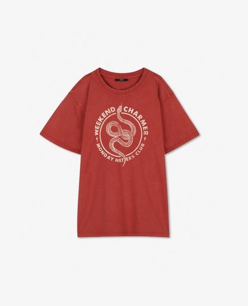 Roest T-shirt met print Youh! - met ronde hals - Youh!