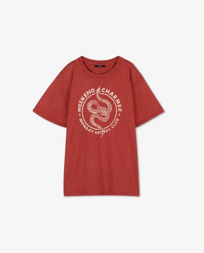 Roest T-shirt met print Youh!