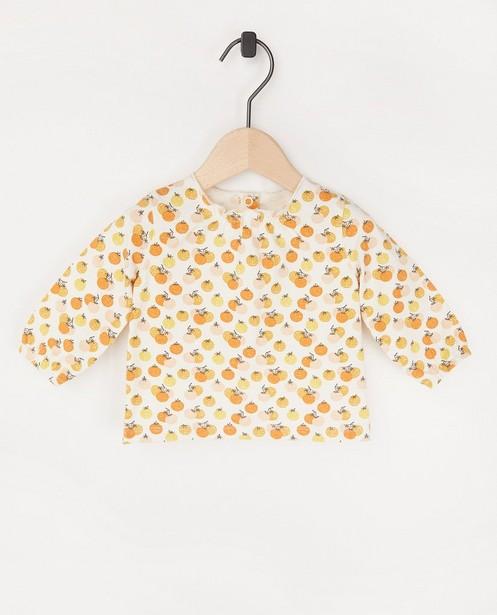 T-shirt écru à manches longues à imprimé - en coton bio - Newborn