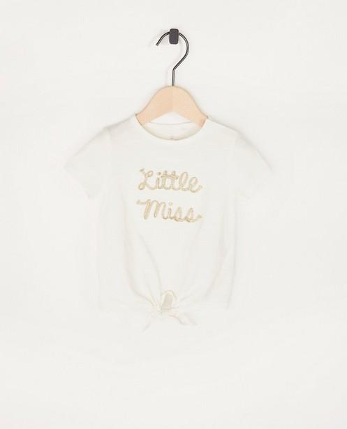 T-shirt écru à inscription - avec détail noué - Cuddles and Smiles