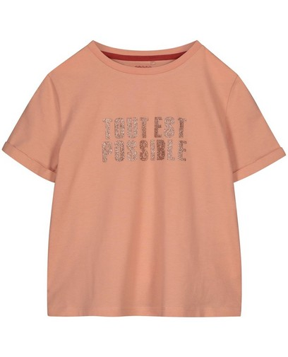 T-shirt rose à inscription à paillettes