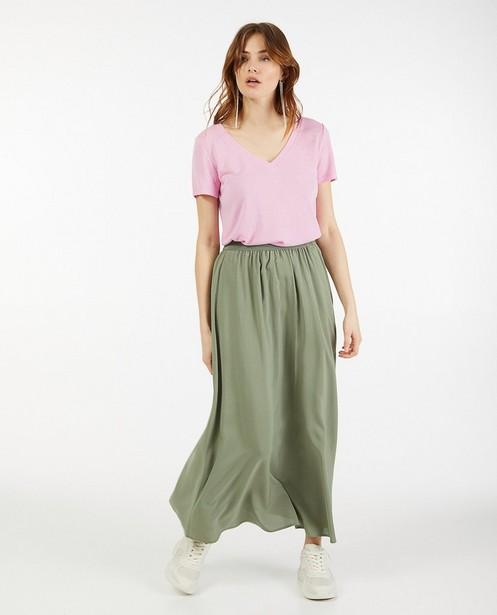 Roze T-shirt met V-hals Sora - van viscose - Sora