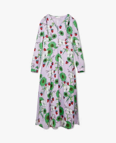 Lila jurk met print Marylène Madou